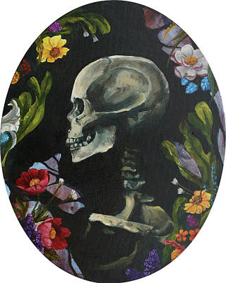Painting - A Skull With Flowers by Elise Procter