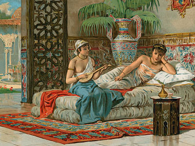 Concubine. Harem Girl Painting - A Slave In The Harem by Dionisio Baixeras-Verdaguer