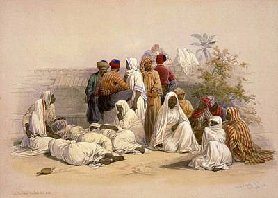 Market Painting - A Slave Market In Cairo by David Roberts