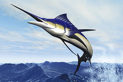 Swordfish Photograph - A Sleek Blue Marlin Bursts by Corey Ford