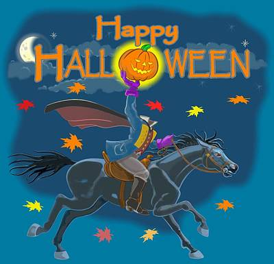 Digital Art - A Sleepy Hollow Halloween by J L Meadows
