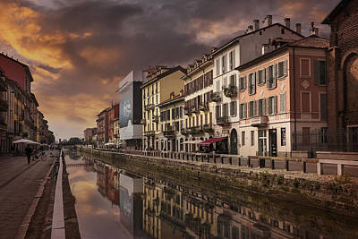 A Sleepy Sunday At Naviglio Grande Art Print by Carol Japp