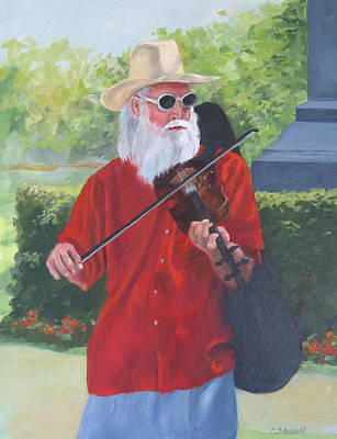 A Slim Fiddler For Peace Art Print