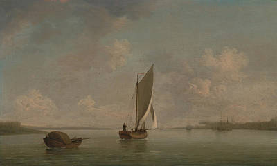 Boats In Water Painting - A Smack Under Sail In A Light Breeze In A River by Charles Brooking