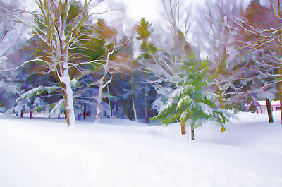 Snowy Brook Painting - A Small Creek Flowing Snowy Winter Landscape by Lanjee Chee