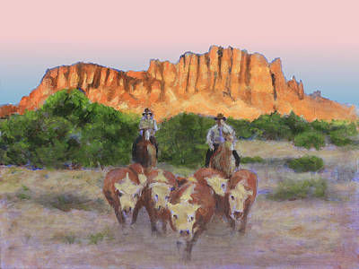 Cattle Roundup Painting - A Small Gather by David Zimmerman