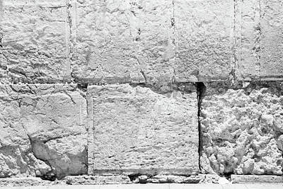 Photograph - A Small Part Of The Wailing Wall In Black And White by Yoel Koskas