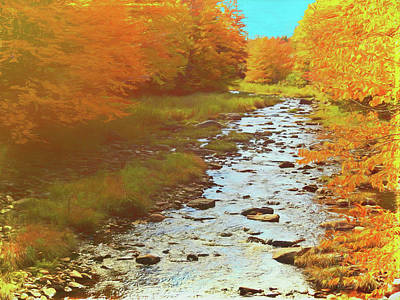 Digital Art - A Small Stream Bright Fall Color. by Rusty R Smith