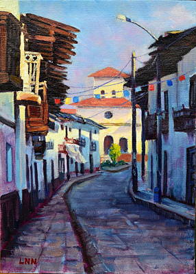 Painting - A Small Town, Peru Impression by Ningning Li