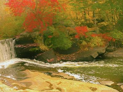 Photograph - A Small Waterfall Surrounded By Bright Fall Color. by Rusty R Smith