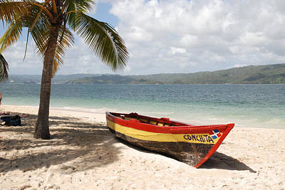 Bacardi Photograph - A Small Wooden Boat On The Beach by Hibberd, Shannon