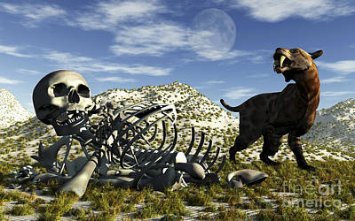 Carcass Digital Art - A Smilodon Saber-toothed Cat Discovers by Mark Stevenson