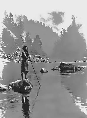 Alone Painting - A Smoky Day At The Sugar Bowl-hupa, C. 1923. Hupa Man With Spear, Standing On Rock Midstream By E Cu by E Curtis