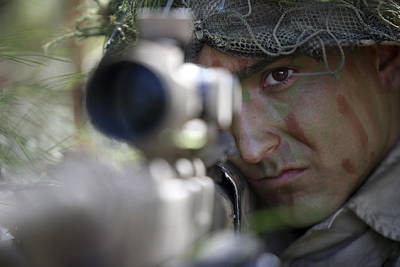 A Sniper Sights In On A Target Print by Stocktrek Images