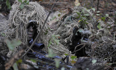 Hiding Photograph - A Sniper Team Spotter And Shooter by Stocktrek Images