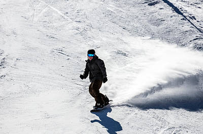 Photograph - A Snowboarder Descends Aspen Mountain by Carol M Highsmith