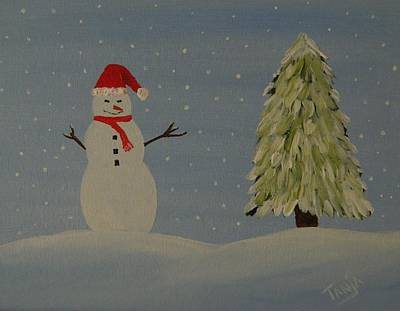 Painting - A Snowman's Christmas by Tanja Beaver