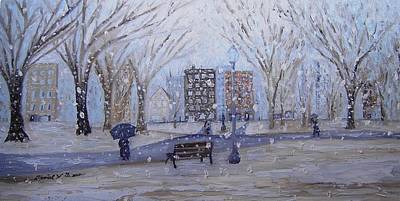 Winter Scenes In Oil Painting - A Snowy Afternoon In The Park by Daniel W Green