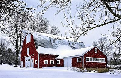 A Snowy Day At Grey Ledge Farm Art Print by Betty Denise