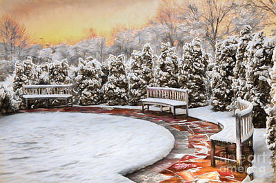 Snow Storm Painting - A Snowy Day In The Park by Dan Carmichael