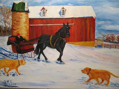 A Snowy Sleigh Ride Art Print by Gloria Condon