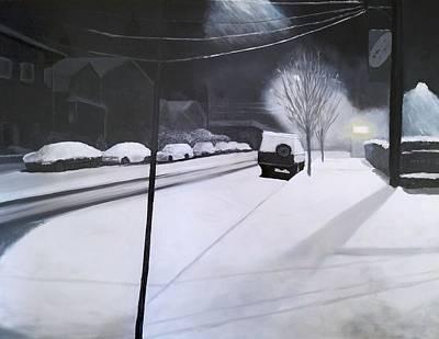 Painting - A Snowy Street In Portland by Karyn Robinson