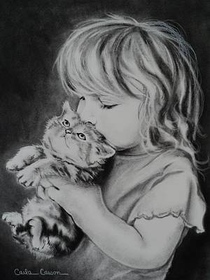 Drawing - A Soft Kiss by Carla Carson