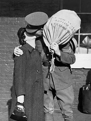 Barrack Photograph - A Soldier's Goodby Kiss by Underwood Archives