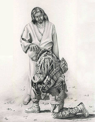 Veteran Drawing - A Soldier's Prayer by Linda Bissett
