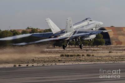 A Spanish Air Force F-18m Hornet Taking Art Print by Timm Ziegenthaler