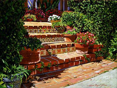 Flowerpots Painting - A Spanish Garden by David Lloyd Glover