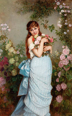 Of Roses And Love Wall Art - Painting - A Special Bunch Of Roses by Auguste Toulmouche