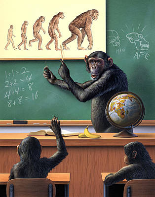 Chimpanzee Painting - A Specious Origin by Jerry LoFaro