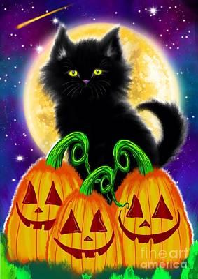 Haunted Digital Art - A Spooky Cat Night by Nick Gustafson