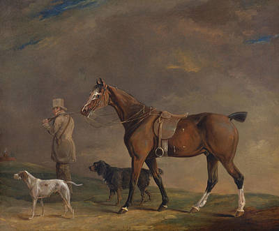Painting - A Sportsman With Shooting Pony And Gun Dogs by Edwin W Cooper of Beccles