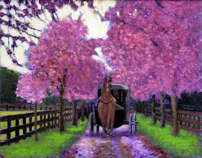 Horse And Buggy Painting - A Spring In Your Step by David Zimmerman