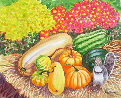 A Squirrel And Pumpkins.2007 Art Print by Natalia Piacheva
