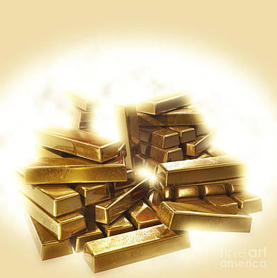 A Stack Of Gold Bullion  Print by Humorous Quotes