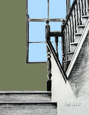 Cahill Drawing - A Stairwell In Limerick by Orla Cahill