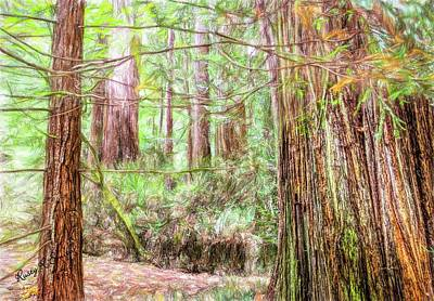 Digital Art - A Stand Of Redwood Trees. by Rusty R Smith