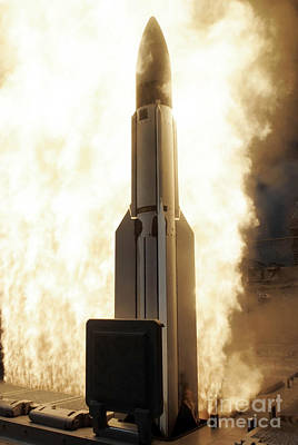 A Standard Missile 3 Is Launched Art Print by Stocktrek Images