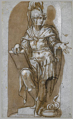 Drawing - A Standing Soldier In A Niche Possibly Attalus I Of Pergamon by Paolo Farinati