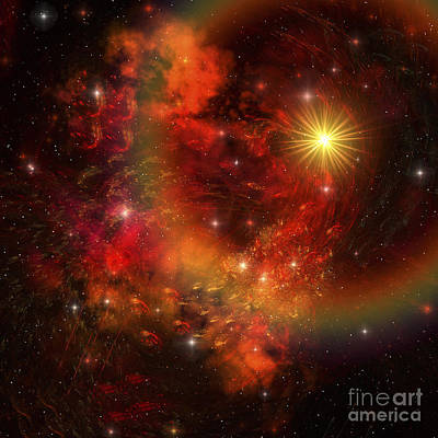A Star Explodes Sending Out Shock Waves Art Print by Corey Ford