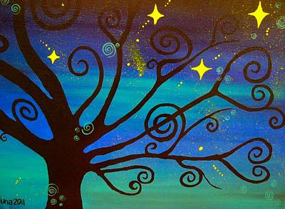 Stary Sky Painting - A Starlit Night  by Una  Miller