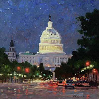 Capitol Building Painting - A Starry Night In Dc by Roelof Rossouw