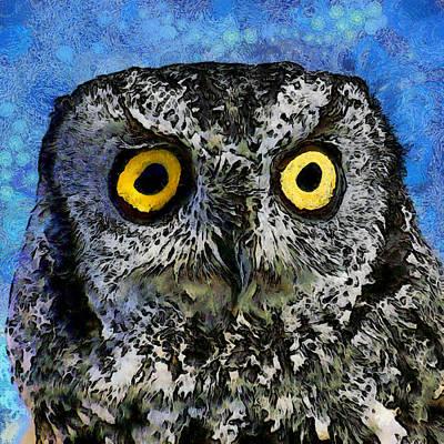 Digital Art - A Starry Night Owl by Ernie Echols