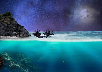 Landscape Mountain Trees Fisherman Digital Art - A Starry Night by Art Spectrum