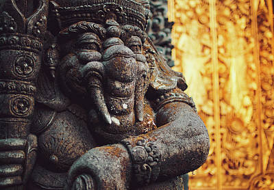 A Statue Of A Intricately Designed Holy Hindu Elephant Ganesha In A Sacred Temple In Bali, Indonesia Art Print