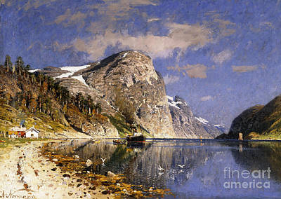 Great Lakes Ship Painting - A Steamer In The Sognefjord by Adelsteen Normann