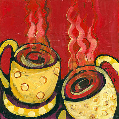 Coffee Mug Painting - A Steaming Romance by Jennifer Lommers